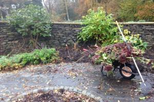 Border care gardening in winter at Windermere