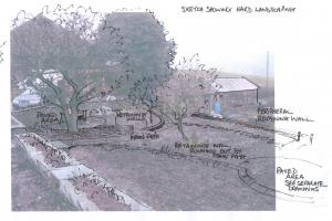 Design sketches showing how the garden will be when looking down from the house