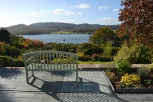 Garden patio with local slate paving overlooking Windermere
