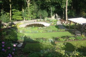 Garden terraces and pond