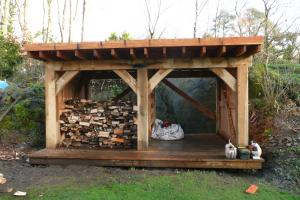 A view of the almost complete oak frame timber shed